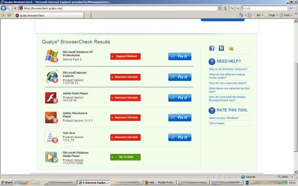 Qualsys Internet Explorer results