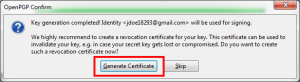 20 generate revocation cert prompt